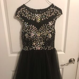 Dancing Queen Dresses - black and silver homecoming dress